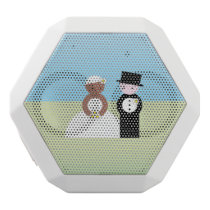 Cute mixed wedding couple white bluetooth speaker