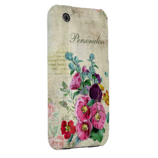 Cute Mixture of Wild Flowers on Vintage Background iPhone 3 Case
