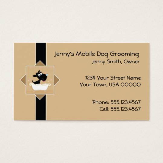 Cute Mobile Dog Grooming Business Card