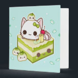 """Cute mochi kitty with kawaii green tea cake binder<br><div class=""""desc"""">This design features a cute baby mochi kitty with kawaii green tea cake on light mint background. Designed by ChibiBunny. For more designs and products,  please visit us at: www.chibibunny.com</div>"""