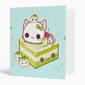 Cute mochi kitty with kawaii green tea cake binder