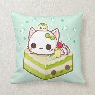 Cute mochi kitty with kawaii green tea cake throw pillow