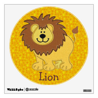 Cute Mock Embroidery Lion Wall Decal
