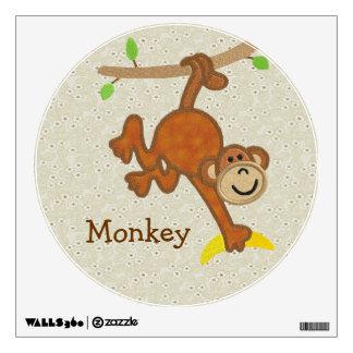 Cute Mock Embroidery Monkey Wall Decal