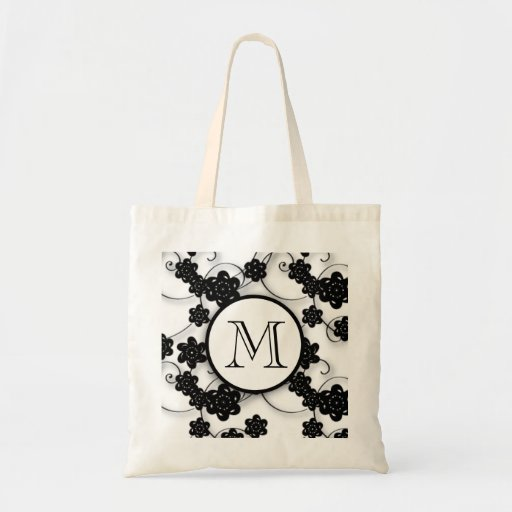 Cute Mod Black Flowers Pattern, Your Initial Tote Bags