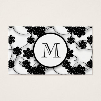 Cute Mod Black Flowers Pattern, Your Initial Business Card