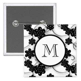 Cute Mod Black Flowers Pattern, Your Initial Pinback Buttons