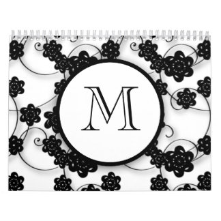 Cute Mod Black Flowers Pattern, Your Initial Calendar