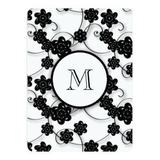 Cute Mod Black Flowers Pattern, Your Initial Card