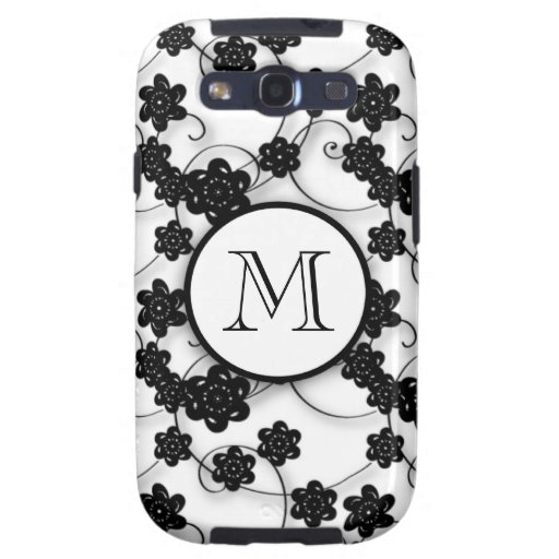 Cute Mod Black Flowers Pattern, Your Initial Galaxy S3 Case