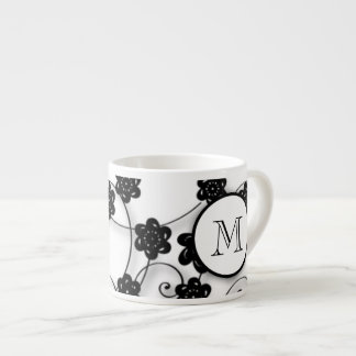 Cute Mod Black Flowers Pattern, Your Initial Espresso Cup