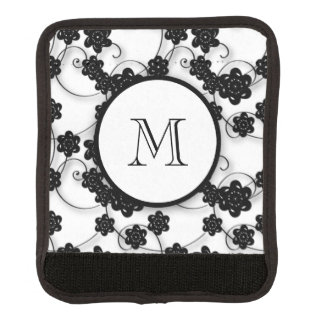 Cute Mod Black Flowers Pattern, Your Initial Handle Wrap
