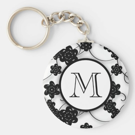 Cute Mod Black Flowers Pattern, Your Initial Keychain