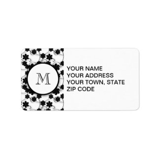 Cute Mod Black Flowers Pattern, Your Initial Address Label