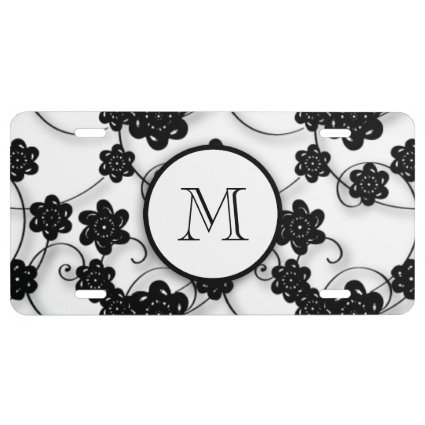 Cute Mod Black Flowers Pattern, Your Initial License Plate