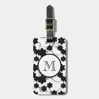 Cute Mod Black Flowers Pattern, Your Initial Tags For Bags
