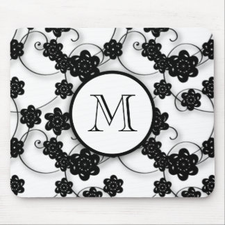 Cute Mod Black Flowers Pattern, Your Initial Mouse Pad