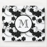 Cute Mod Black Flowers Pattern, Your Initial Mouse Pads