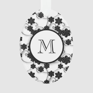 Cute Mod Black Flowers Pattern, Your Initial Ornament