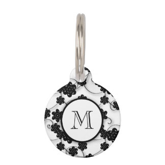 Cute Mod Black Flowers Pattern, Your Initial Pet ID Tag