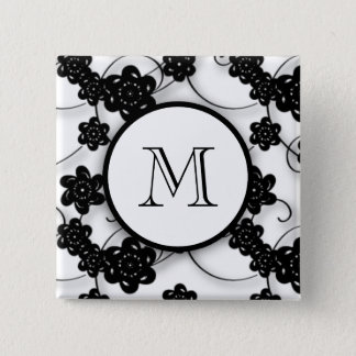 Cute Mod Black Flowers Pattern, Your Initial Pinback Button