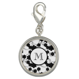 Cute Mod Black Flowers Pattern, Your Initial Charm