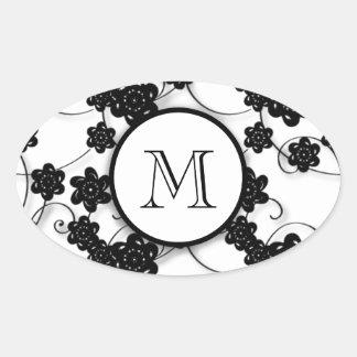 Cute Mod Black Flowers Pattern, Your Initial Oval Sticker