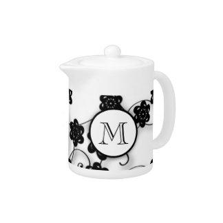Cute Mod Black Flowers Pattern, Your Initial Teapot