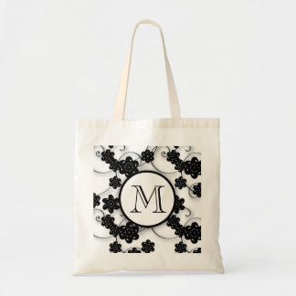 Cute Mod Black Flowers Pattern, Your Initial Tote Bag