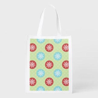 cute mod fun red green, snowflakes cute bag