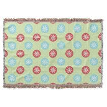 cute mod fun red green, snowflakes cute blanket