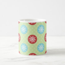 cute mod fun red green, snowflakes cute mug