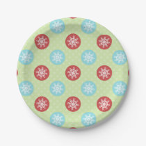 cute mod fun red green, snowflakes paper plates