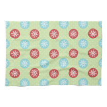 cute mod fun red green, snowflakes towel