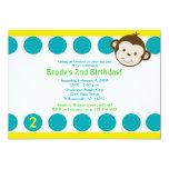 Cute Mod Monkey Blue/Yellow Birthday 5x7 Personalized Invite