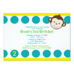 Cute Mod Monkey Blue/Yellow Birthday 5x7 Personalized Announcement