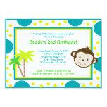 Cute Mod Monkey Blue & Yellow Birthday 5x7 Custom Invite