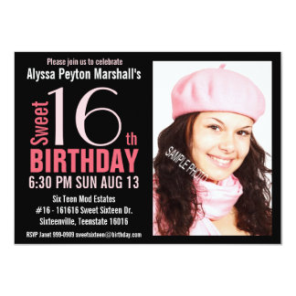 Cute Mod Pink and Black Sweet 16th Party 4.5x6.25 Paper Invitation Card