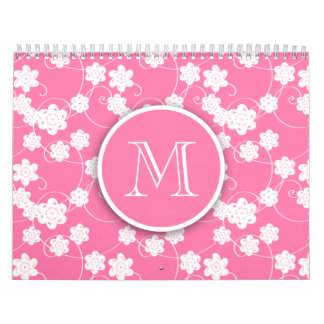 Cute Mod Pink Flowers Pattern, Your Initial Calendar