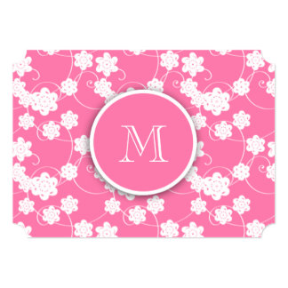 Cute Mod Pink Flowers Pattern, Your Initial Card