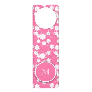 Cute Mod Pink Flowers Pattern, Your Initial Door Hanger