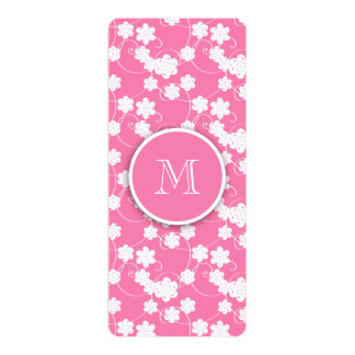 """Cute Mod Pink Flowers Pattern, Your Initial 4"""" X 9.25"""" Invitation Card"""