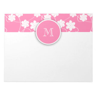 Cute Mod Pink Flowers Pattern, Your Initial Memo Pad
