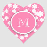 Cute Mod Pink Flowers Pattern, Your Initial Heart Stickers