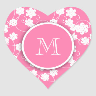 Cute Mod Pink Flowers Pattern, Your Initial Heart Sticker