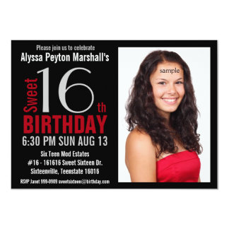 Cute Mod Red and Black Photo Sweet 16th Party 4.5x6.25 Paper Invitation Card