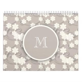 Cute Mod Tan Flowers Pattern, Your Initial Wall Calendars