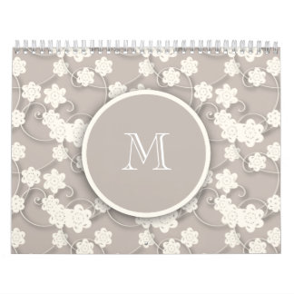Cute Mod Tan Flowers Pattern, Your Initial Calendar