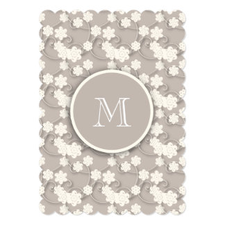 Cute Mod Tan Flowers Pattern, Your Initial Card