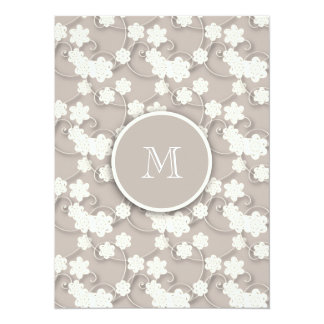 Cute Mod Tan Flowers Pattern, Your Initial 5.5x7.5 Paper Invitation Card